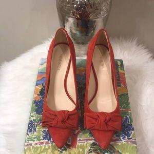 Red suede heels Nine West